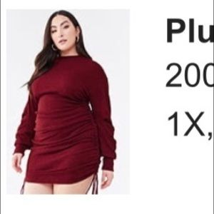 Burgundy Plus Size Ruched Sweater Dress, Size 1X